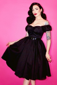 TopVintage exclusive ~ 50s Vixen Swing Dress in Black