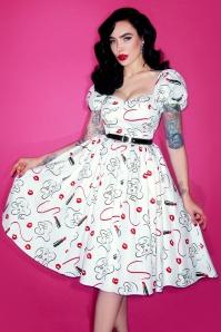 TopVintage exclusive ~ Vixen Lipstick Swing Dress Années 50 en Blanc