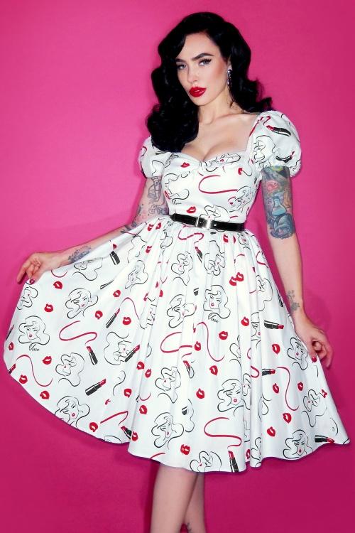 Vixen by Micheline Pitt Off Shoulder Swing Dress in White 20685 1