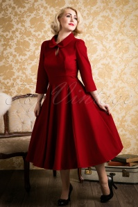 50s Florence Velvet Swing Dress in Burgundy