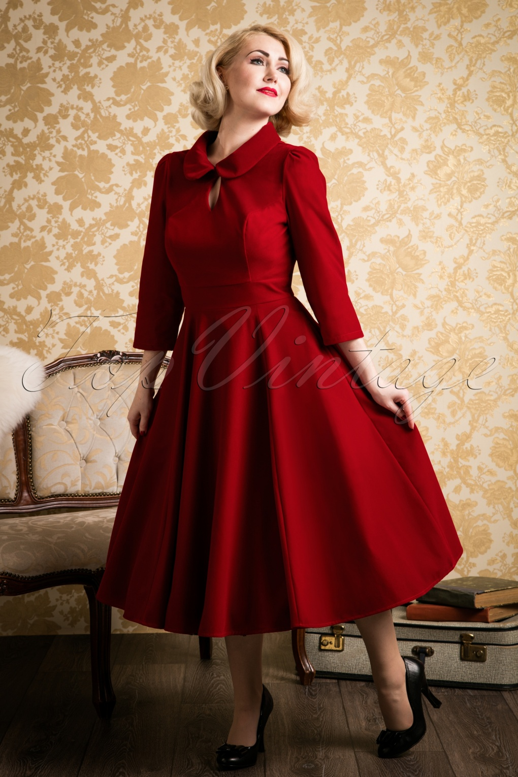Vintage Inspired Cocktail Dresses, Party Dresses 50s Florence Velvet Swing Dress in Burgundy £49.58 AT vintagedancer.com