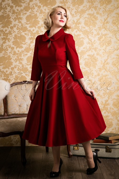 Paula Walks Hearts & Roses 50s Florence Velvet Swing Dress 17661 20161215 0022w