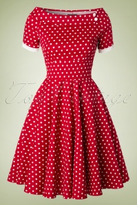 50s Darlene Polkadot Swing Dress in Red