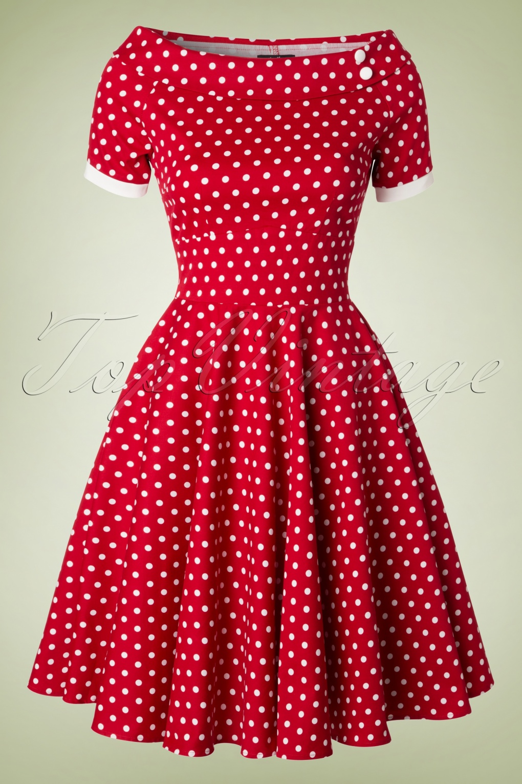 1940s Pinup Dresses for Sale 50s Darlene Polkadot Swing Dress in Red £45.55 AT vintagedancer.com