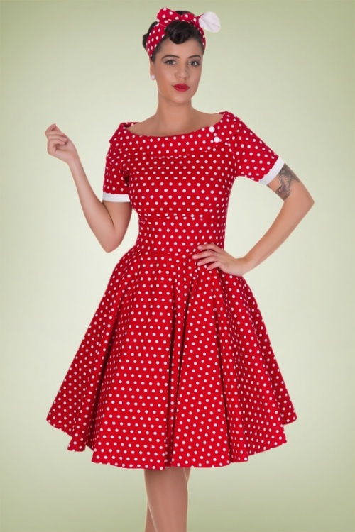 3cae7d6e7a35f Dolly and Dotty Darlene 50 s Red Polkadot Swing Dress 102 27 18773 20160330  1