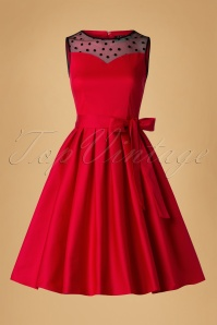 50s Elizabeth Swing Dress in Lipstick Red