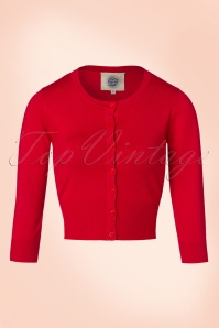 50s Pretty Crew Cardi in Lipstick Red