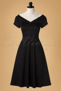 50s Catherina Pompom Dress in Black