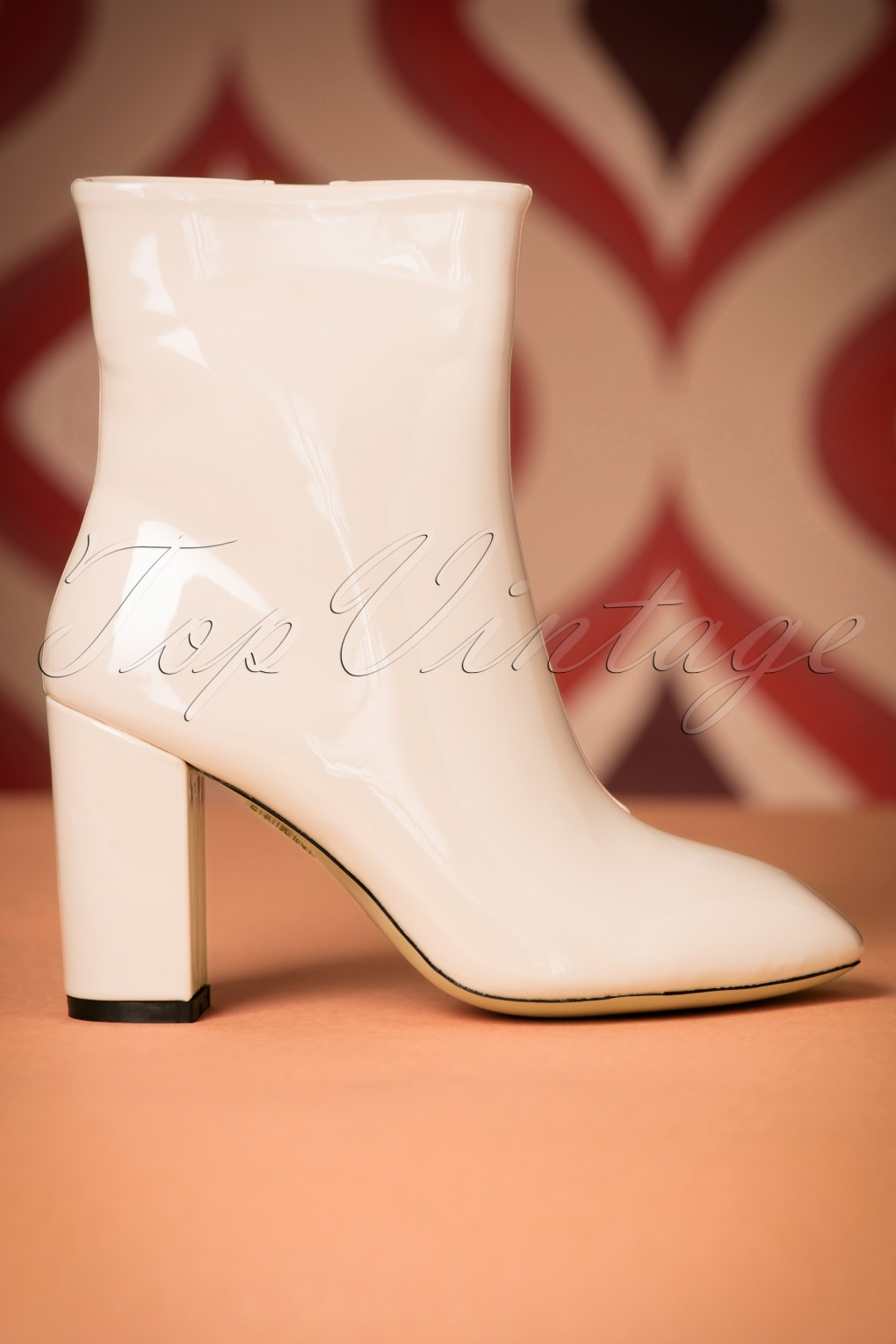 Vintage Style Shoes, Vintage Inspired Shoes 60s Runaway Lacquer Booties in Cream £59.34 AT vintagedancer.com