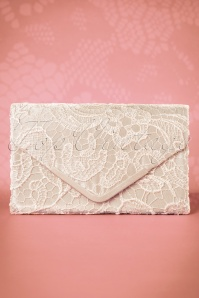 30s Elegant Lace Evening Clutch in Champagne