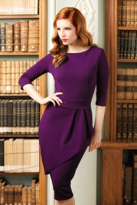 Vintage Chic Barbara Wrap Skirt Pencil Dress in Purple 100 60 20062 model01