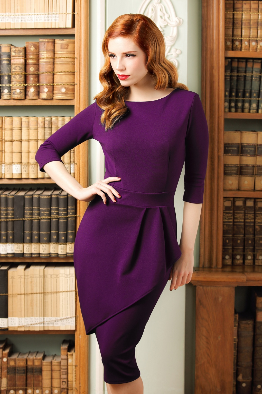 eae400d98a 50s Vicky Pencil Dress in Purple