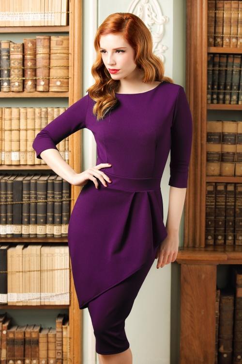 Vintage Chic Barbara Wrap Skirt Pencil Dress in Purple 100 60 20062 model01