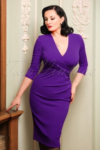 50s Madison Pencil Dress in Purple