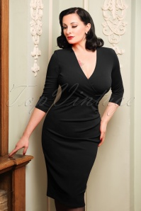 50s Madison Pencil Dress in Black