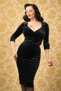 TopVintage Exclusive ~ 50s Annabelle Velvet Pencil Dress in Black