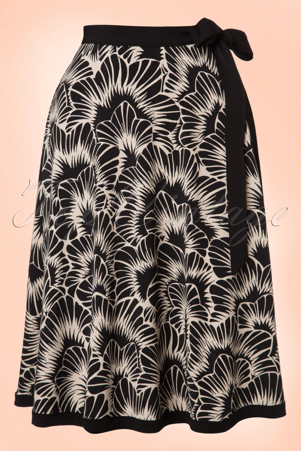 Retro Skirts: Vintage, Pencil, Circle, & Plus Sizes 60s Blizzy Wrap Skirt in Black and Cream £67.90 AT vintagedancer.com
