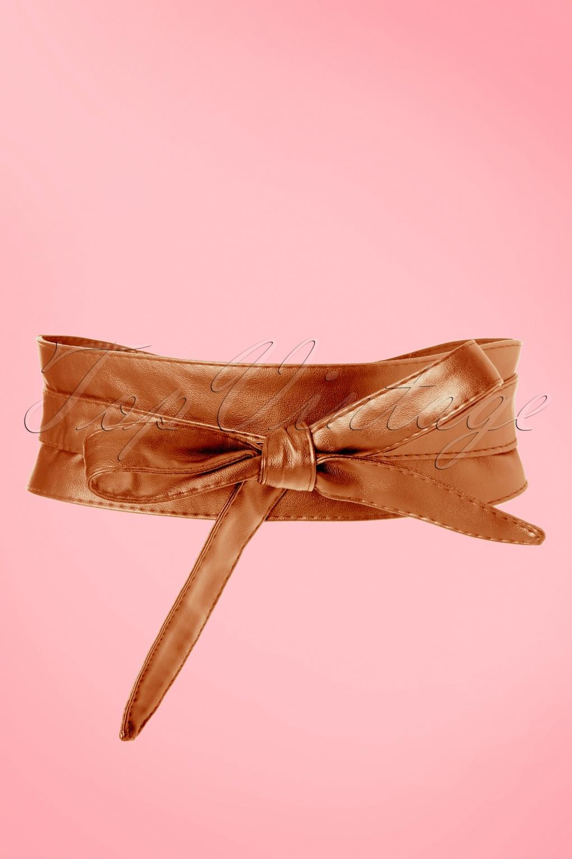 50s obi wrap belt in cognac. Black Bedroom Furniture Sets. Home Design Ideas