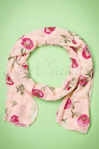 Roses Are Falling On Me Scarf Années 60 en Rose