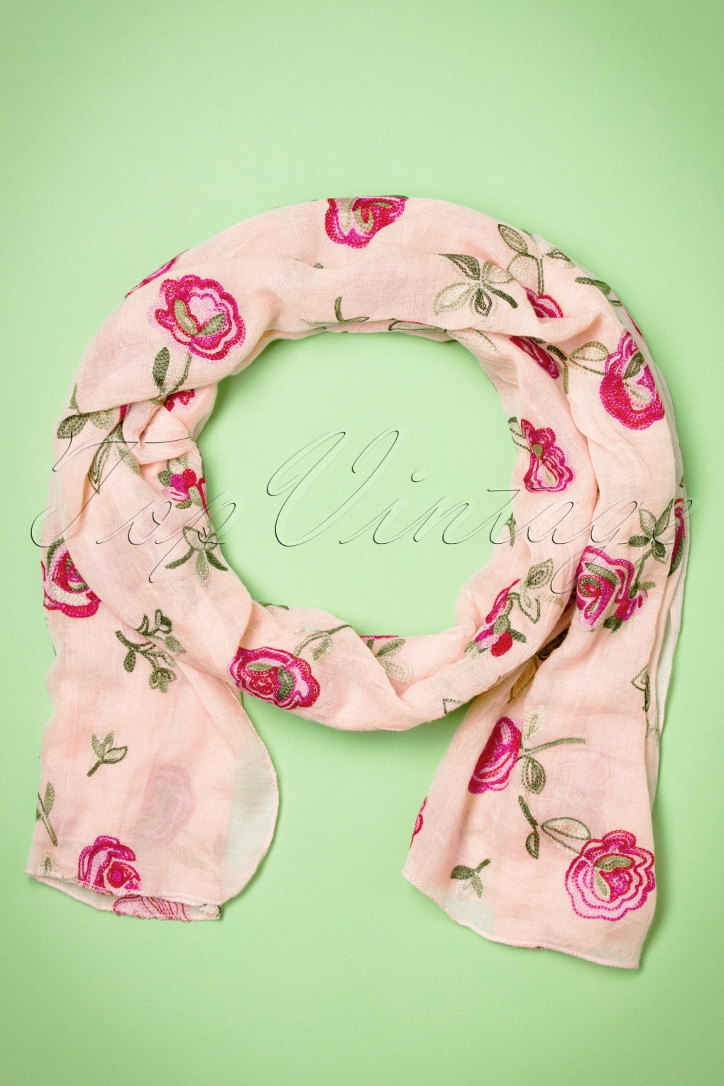 Vintage Scarves- New in the 1920s to 1960s Styles 60s Roses Are Falling On Me Scarf in Pink £12.63 AT vintagedancer.com