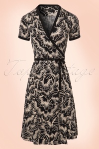 King Louie Floral Wrap Dress in Creme and Black 106 14 20177 20170110 0004W