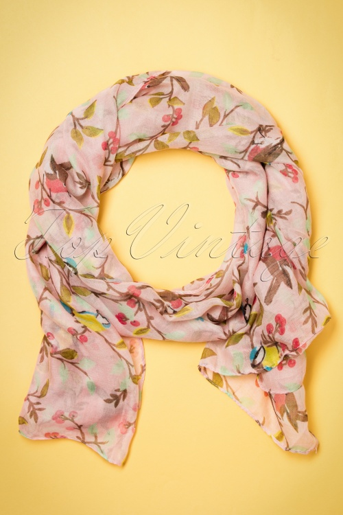 Kaytie Pink birds scarf 240 29 18331 02292016 004W