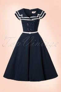 50s Captain Flare Dress in Navy