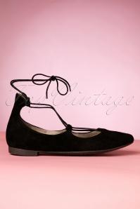 60s Barbara Ballerina Lace Up Flats in Black Suede