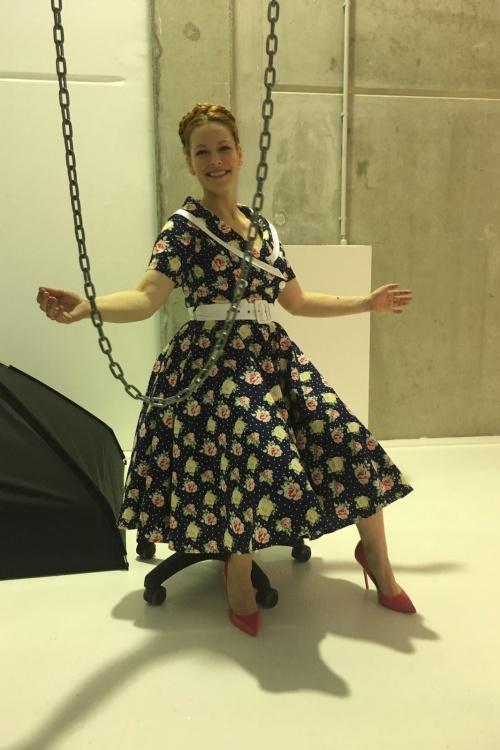 50s emma roses swing dress in navy. Black Bedroom Furniture Sets. Home Design Ideas