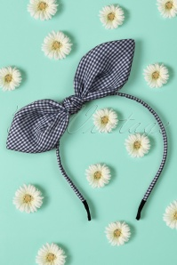 50s Riley Hair Band in Navy and White