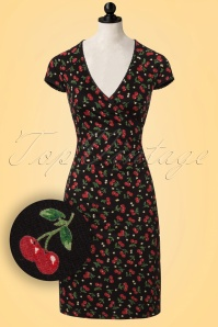 50s Temptation Cherry Cross Dress in Black