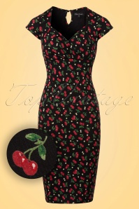 50s Temptation Perry Pencil Dress in Black
