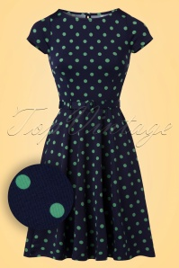 Betty PartyPolka Dress Années 60 en Bleu Nuit