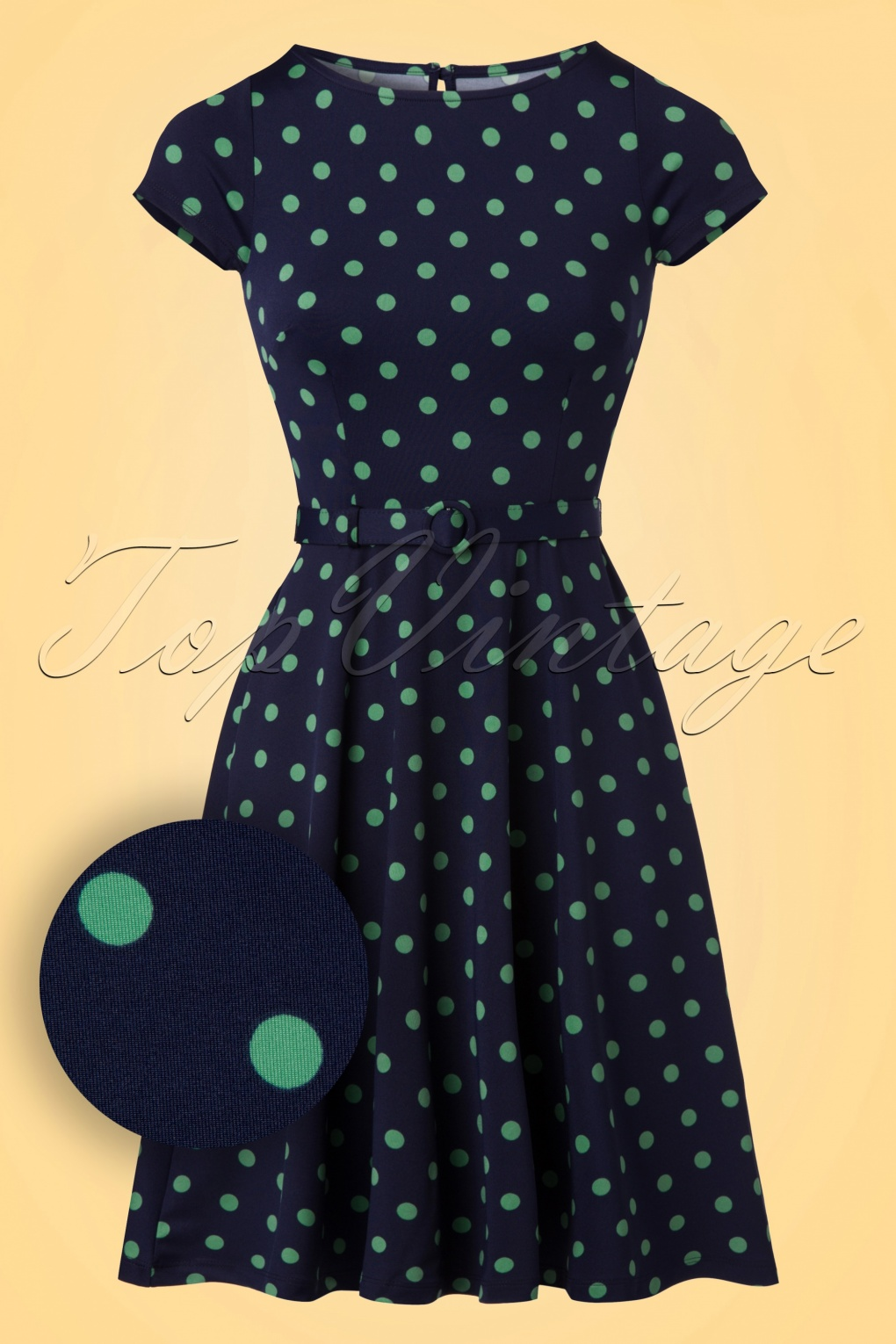 1960s Style Dresses- Retro Inspired Fashion 60s Betty PartyPolka Dress in Nuit Blue £87.92 AT vintagedancer.com