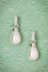 Trixie Shiny Pearl Earrings Années 30 en Argenté