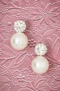 Betsy Pearl and Diamond Earrings Années 30 en Argenté
