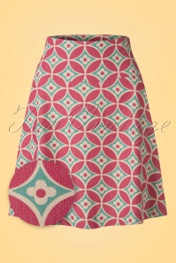 60s Mozaik Border Skirt in Opal and Pink
