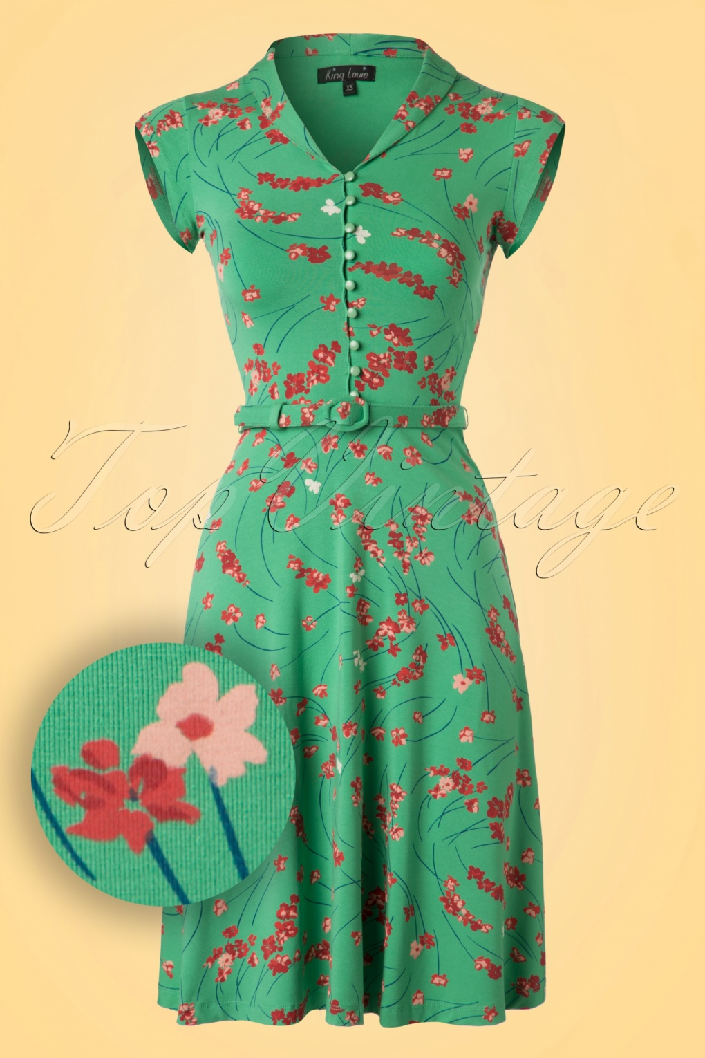 1940s Day Dresses 40s Emmy Fleurette Dress in Opal Green £84.89 AT vintagedancer.com