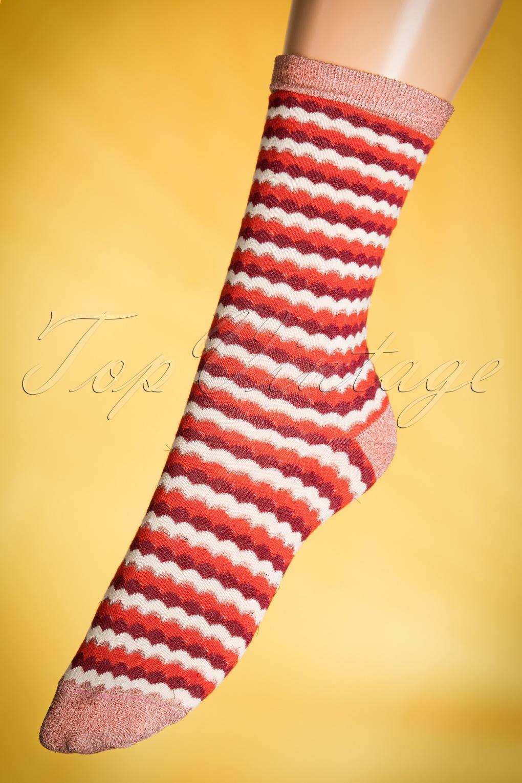 Vintage Socks 1920s to1960s History 60s Wave Socks in Red and Cream £13.15 AT vintagedancer.com