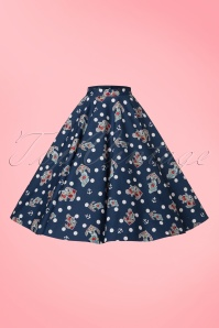 Bunny Oceana 50s Swing Skirt in Navy 122 39 21053 01202017 003