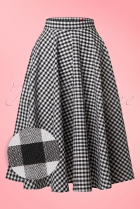 50s Bridget Swing Skirt in Black and White Gingham