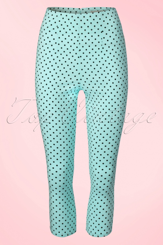 1950s Style Pants 50s Kay Polkadot Capri Pants in Aqua Blue £26.02 AT vintagedancer.com