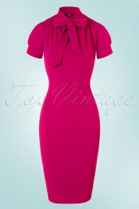 50s Bonnie Tie Neck Pencil Dress in Magenta