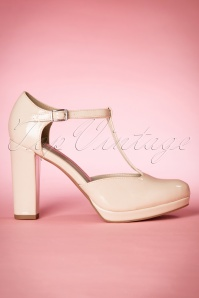 60s Phoebe Lacquer T-Strap Pumps in Cream