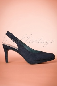 50s Sandy Slingback Suedine Pumps in Navy
