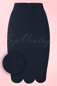Sugarhill Boutique Neda Scallop Hem Pencil Skirt in Navy 120 31 19908 20161115 0002W1