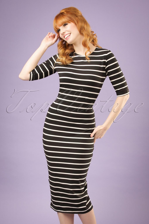 Wiggle Dresses | Pencil Dresses 50s Octavia Bodycon Dress in Black and Cream Stripes £46.67 AT vintagedancer.com
