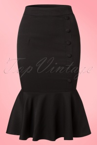 50s History Repeats Pencil Skirt in Black