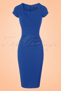 Vintage Chic 50s Laila Pleated Scuba Crepe Pencil Dress in Blue 100 30 21007 20172701 0005w