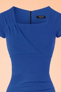 Vintage Chic 50s Laila Pleated Scuba Crepe Pencil Dress in Blue 100 30 21007 20172701 0005c